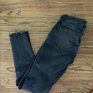 Mavi charcoal  jeans w/distressed hem at bottom